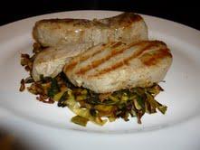 Tuna Steaks Over Spinach