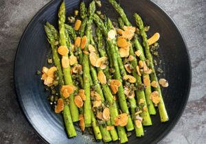 Asparagus With Brown Butter, Capers & Toasted Almonds