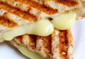 Closeup of melting cheese in a grilled cheese sandwich on wholewheat bread.  With grill marks.