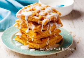 Pumpkin Waffles With Cream Cheese Glaze