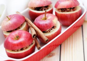 apples with sweets inside ready to bake - fruits and vegetables